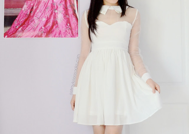 More photos of the white ulzzang-style mesh-paneled dress from Fanewant, with a sweetheart neckline and pearl-embellished collar.