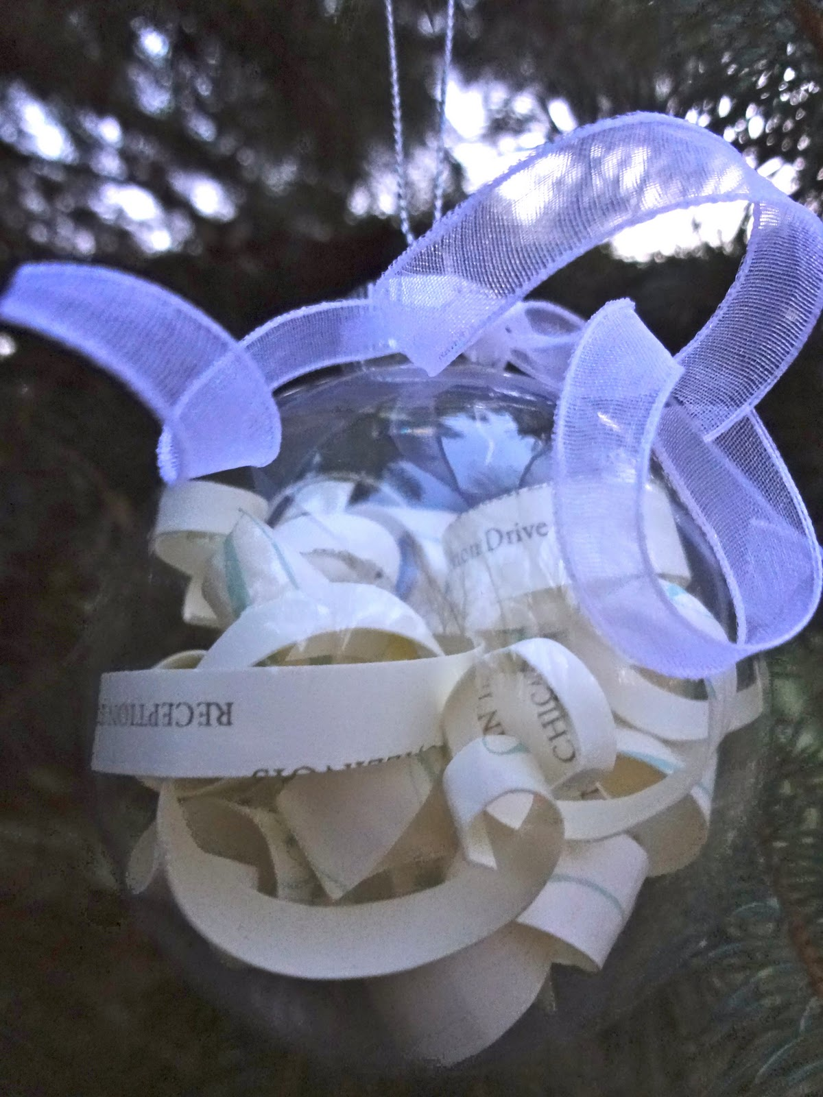 fill up the ornament with the invitation strips tie a ribbon on top and send to your favorite newlyweds - Wedding Invitation Ornament