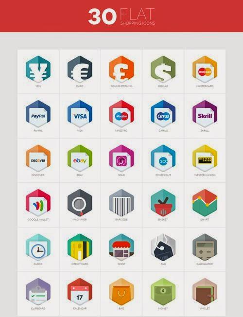 30 Flat Shopping Icons