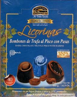 chocolate com recheio de pisco e passas
