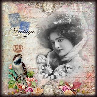 fondo vintage con dama y pájaro coronado