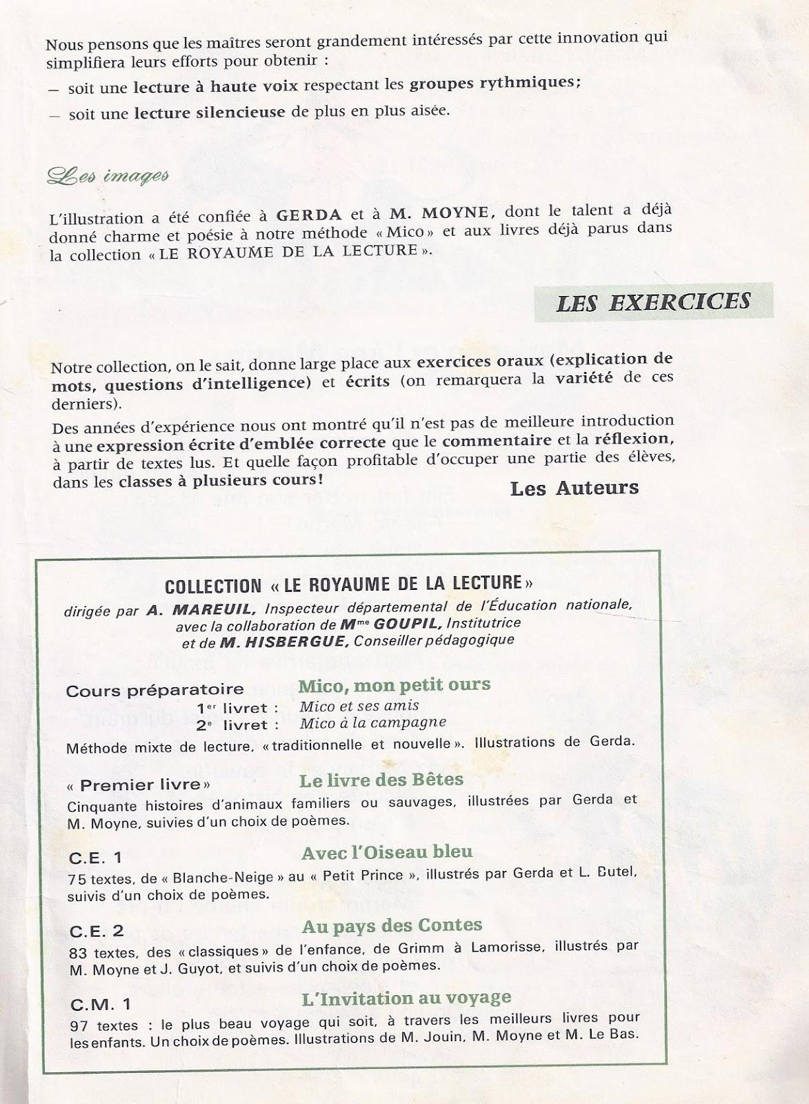 Turbo Mareuil et Goupil, Le Livre des bêtes (manuel CP-CE1  NV37