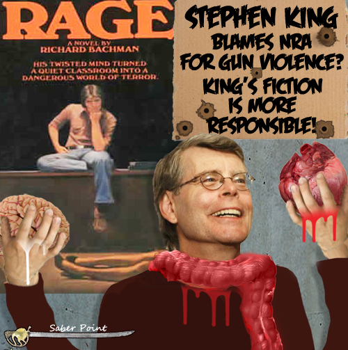 saberpoint stephen king leftist hypocrite deplores gun violence  stephen king has written an essay called guns in which he blames the national rifle association for recent massacres by mad men stephen king wrote