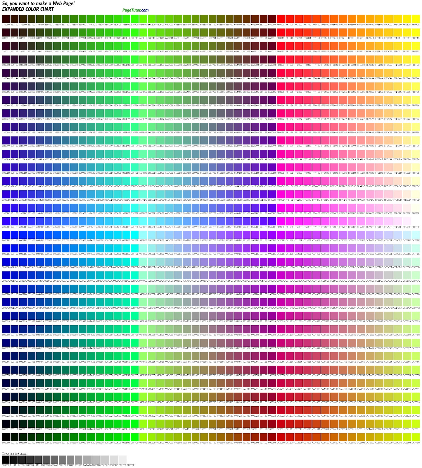 hex color table