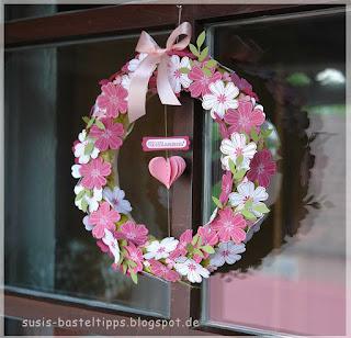 Türkranz mit Stampin' Up! Flowershop Stanze und Stempel und Herz
