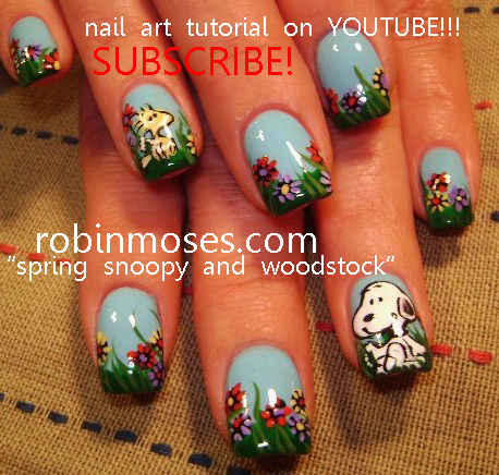 http://www.youtube.com/watch?v=16ha5nSvvlw - Snoopy Nail Art And Woodstock Nail Art, Patchwork Nail Art