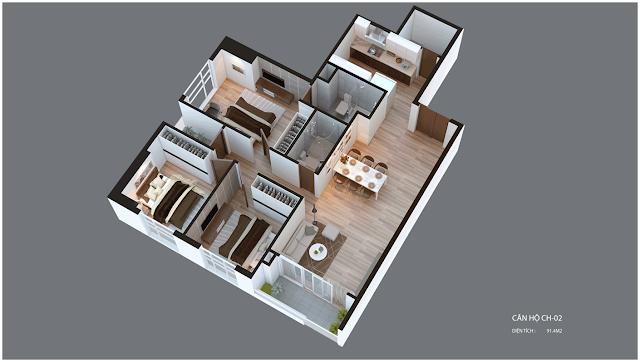 Mặt bằng căn hộ Imperia Garden CH02 91,4 m2