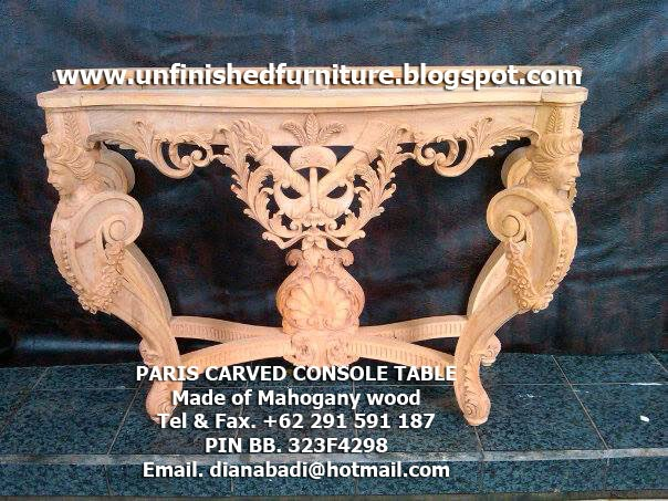 Supplier Unfinished furniture, supplier unfinished console table, handmade lady carved console table, four angel carved console table,luxury console table mahogany