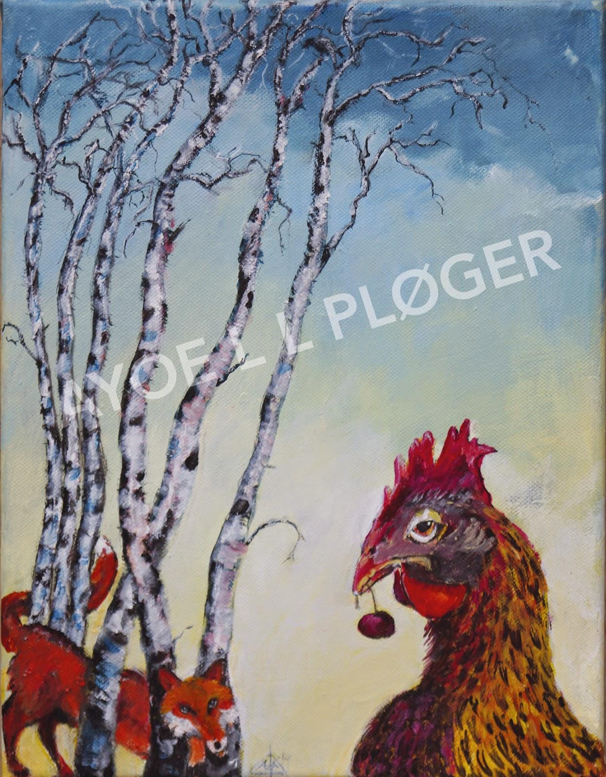 Høne, birketrær, kunst, moderne, ræv, acryl, maleri, fox, hen, chiken
