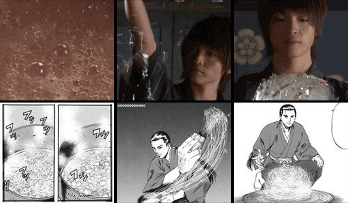 Ken boils konpeito down to make a spun sugar bloom in both live action and manga panels