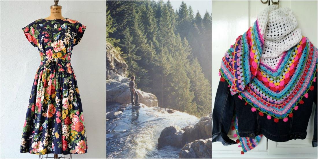 pinterest vintage dress waterfall crochet scarf