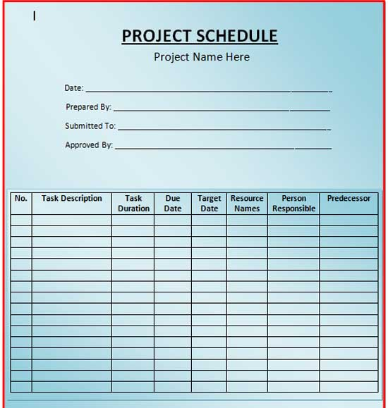Project Schedule Template Word - Work from home schedule template