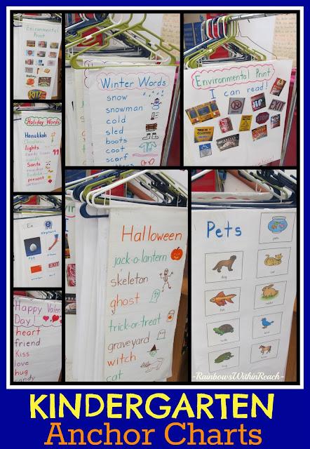 photo of: Kindergarten Anchor Charts (hanging from hangers) via RainbowsWithinReach