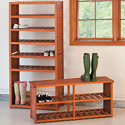 eucalyptus shoe rack and shoe bench