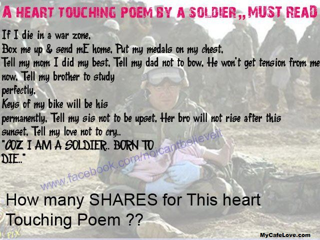 Heart touching poem by a soldier must read