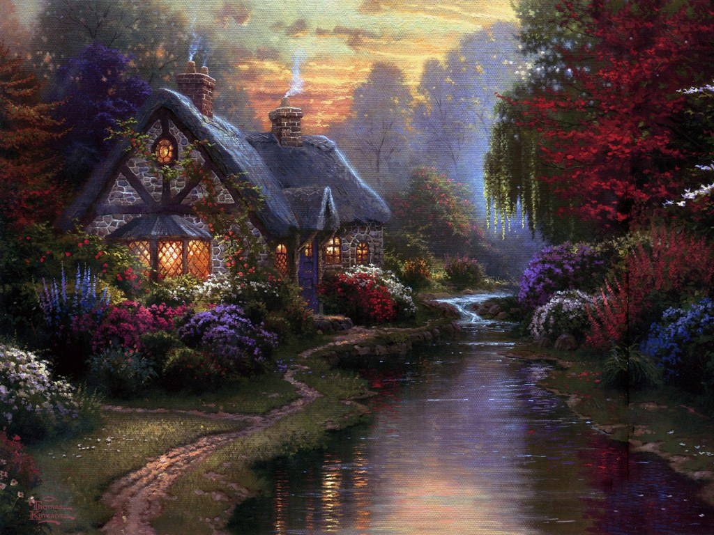 Art wednesday thomas kinkade for Oil paintings of houses