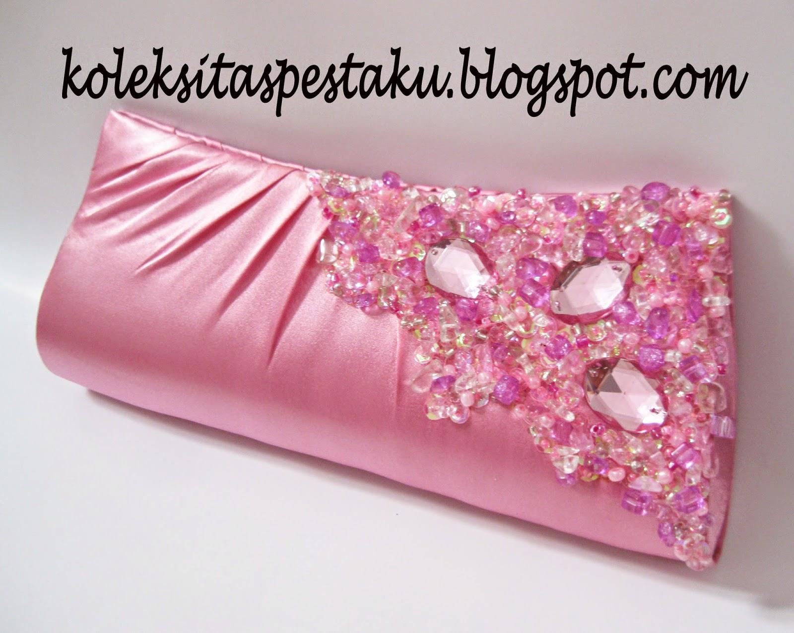 Tas Pesta Centil Unik Pink Ayu Nuansa Payet Silver Mewah Elegant