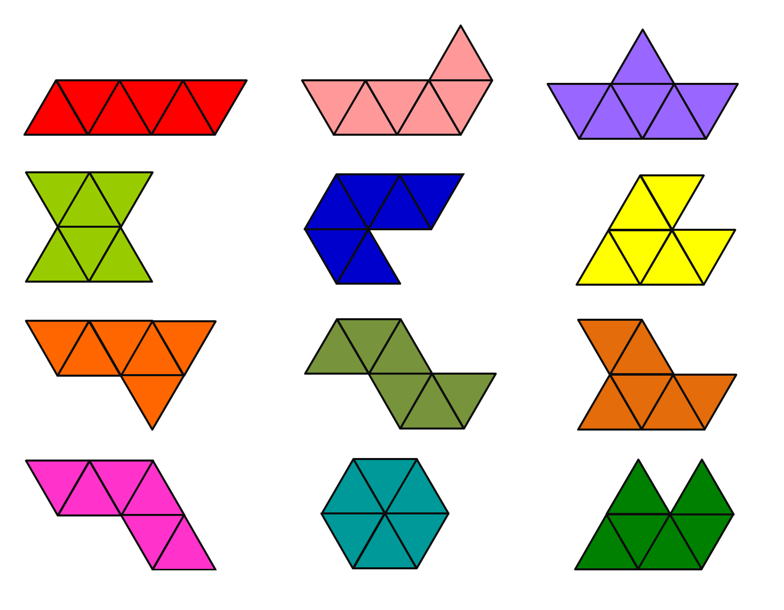 Polyiamonds And Rotational Symmetry on How To Add Fractions 1 3 4