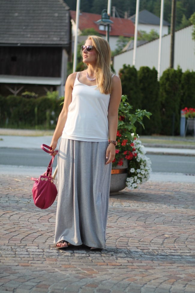 lavender star - camisole top - maxi rock benetton - michael kors jetset bag pink  -ray ban erika- sommer look - sommer outfit - fashionblogger oesterreich - koettmannsdorf