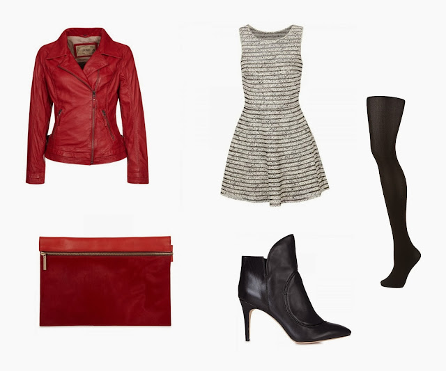 Oakwood leather jacket, Parker striped tulle dress, Victoria Beckham clutch bag, Camilla Skovgaard flame ankle boots, Topshop tights, winter fall look outfit, red jacket outfit, black tights outfit, dress in the winter