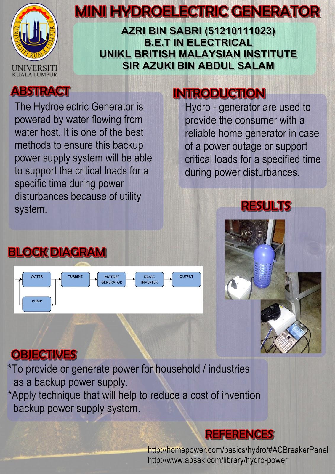 Final Year Project Mini Hydroelectric Generator Diagram Week 14 Preparation And Presentation
