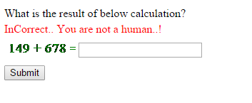 Output of How to create simple mathmatical captcha in ASP.Net C#.Net and VB.Net