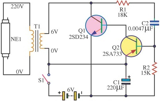 easy 6v fluorescent light electronic circuit