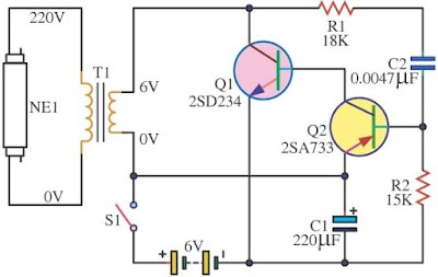easy 6V Fluorescent Light Circuit Diagram design