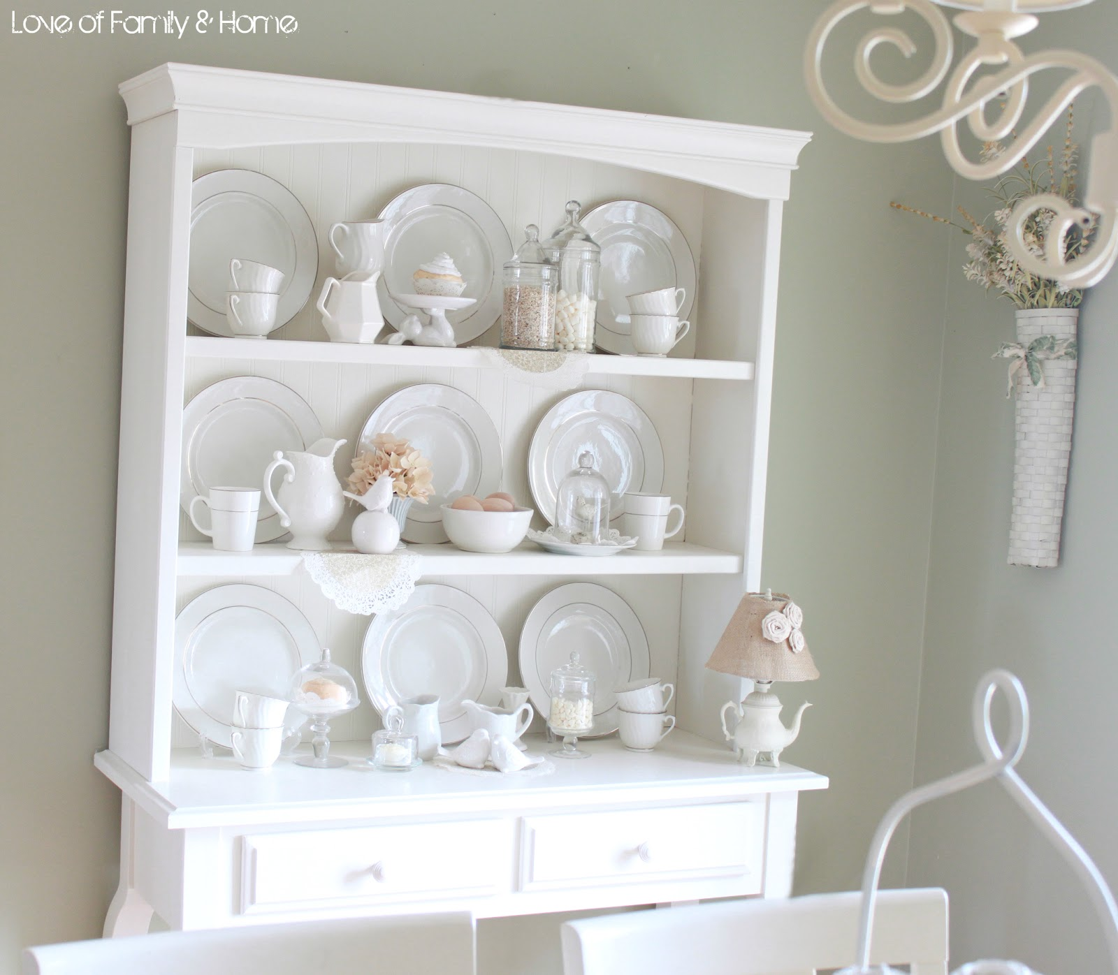 A creamy dreamy hutch display love of family home for Hutch decor