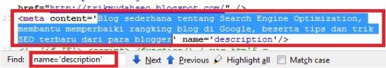 mencari meta description pada kode sumber