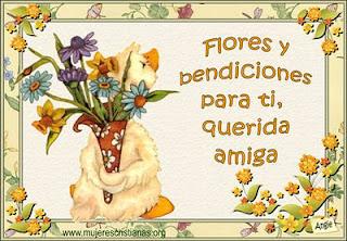 Tarjeta – Flores y bendiciones para ti, querida amiga