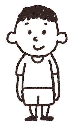 小学生の男の子のイラスト 白黒線画