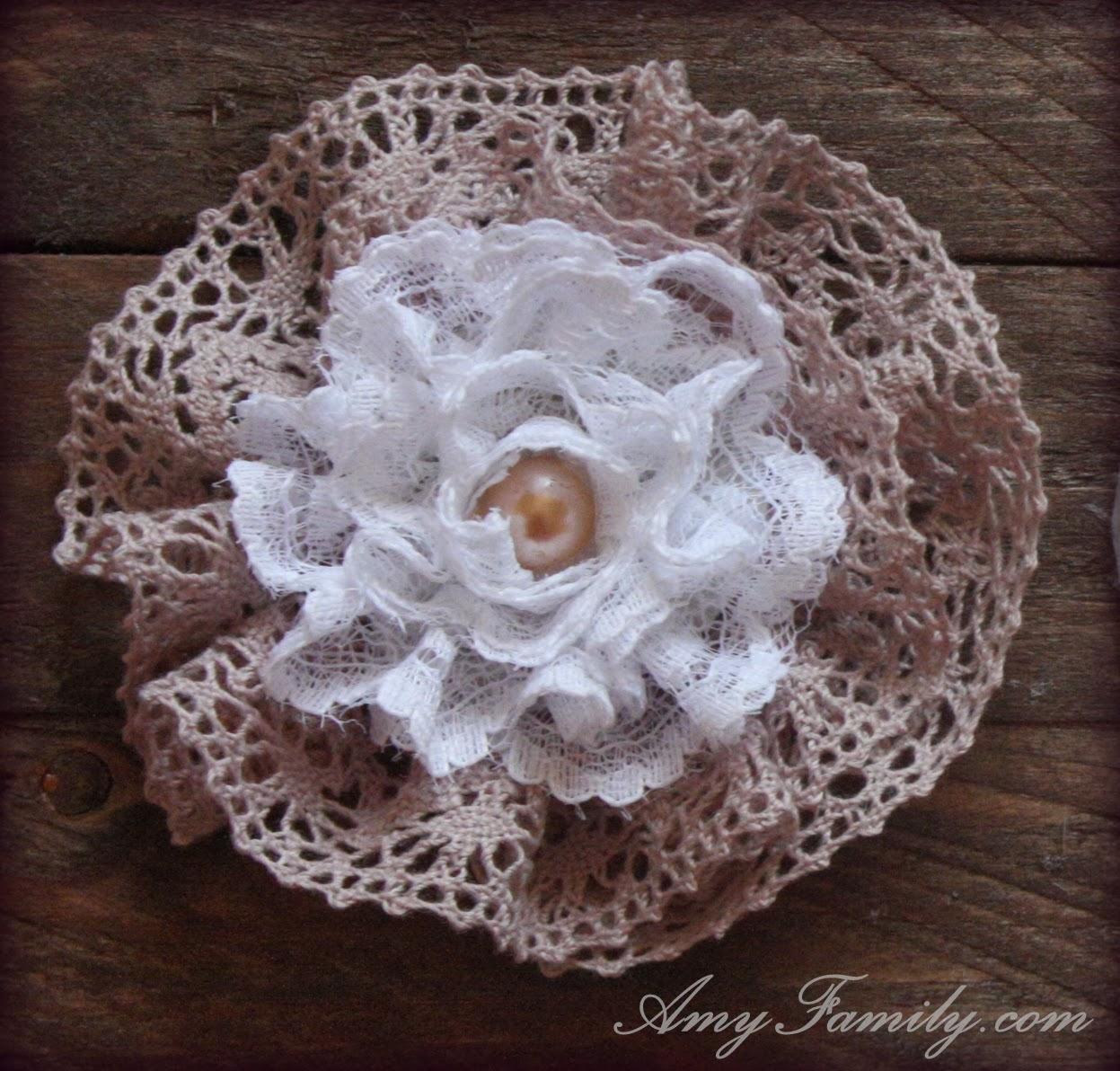 Как сделать цветок из кружева - Семиделухи 36