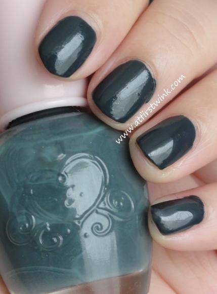 Etude House nail polish DBL603 - Never Navy on nails