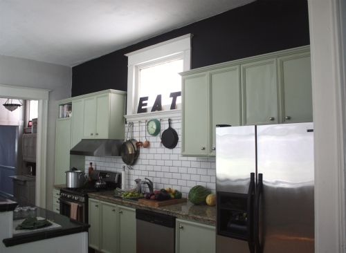 Black Cabinets Gray Walls And White Counters Kitchens