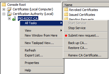 My tech blog march 2015 once we have copied the request file to the root ca we open the certification authority console high light the root ca pki root ca below right click on yadclub Image collections