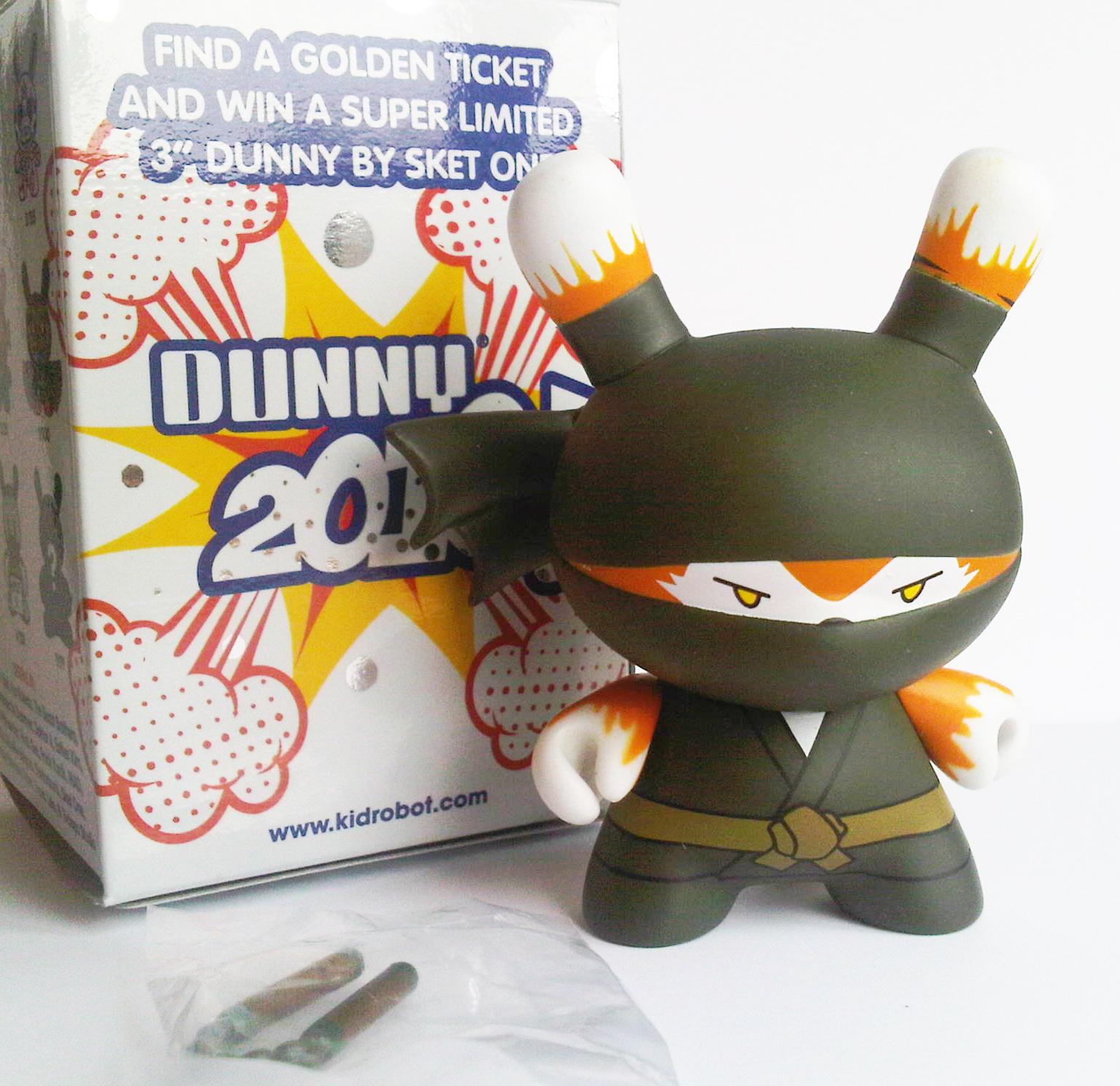 "Kidrobot  3/"" 2010 Series  Ninja Tiger Dunny by Huck Gee RARE NEW"