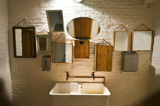 Restaurant Bathroom Design Idea ~ The beauty of interior brick and stone exposure being ron