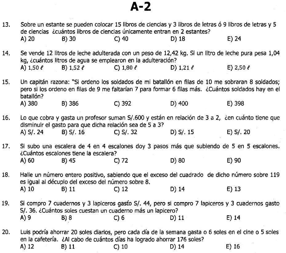 Preguntas de EXAMENES DE ADMISION: Preguntas de CULTURA GENERAL 2012