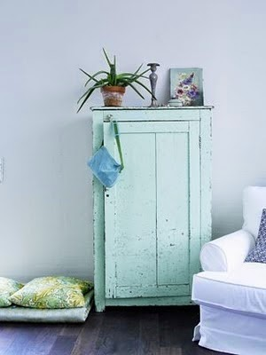 Mint green cupboard