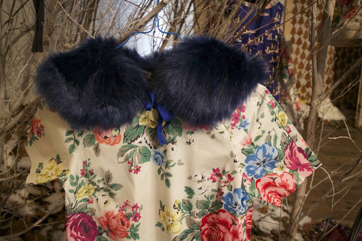cath kidston floral shift and faux fur collar aw15