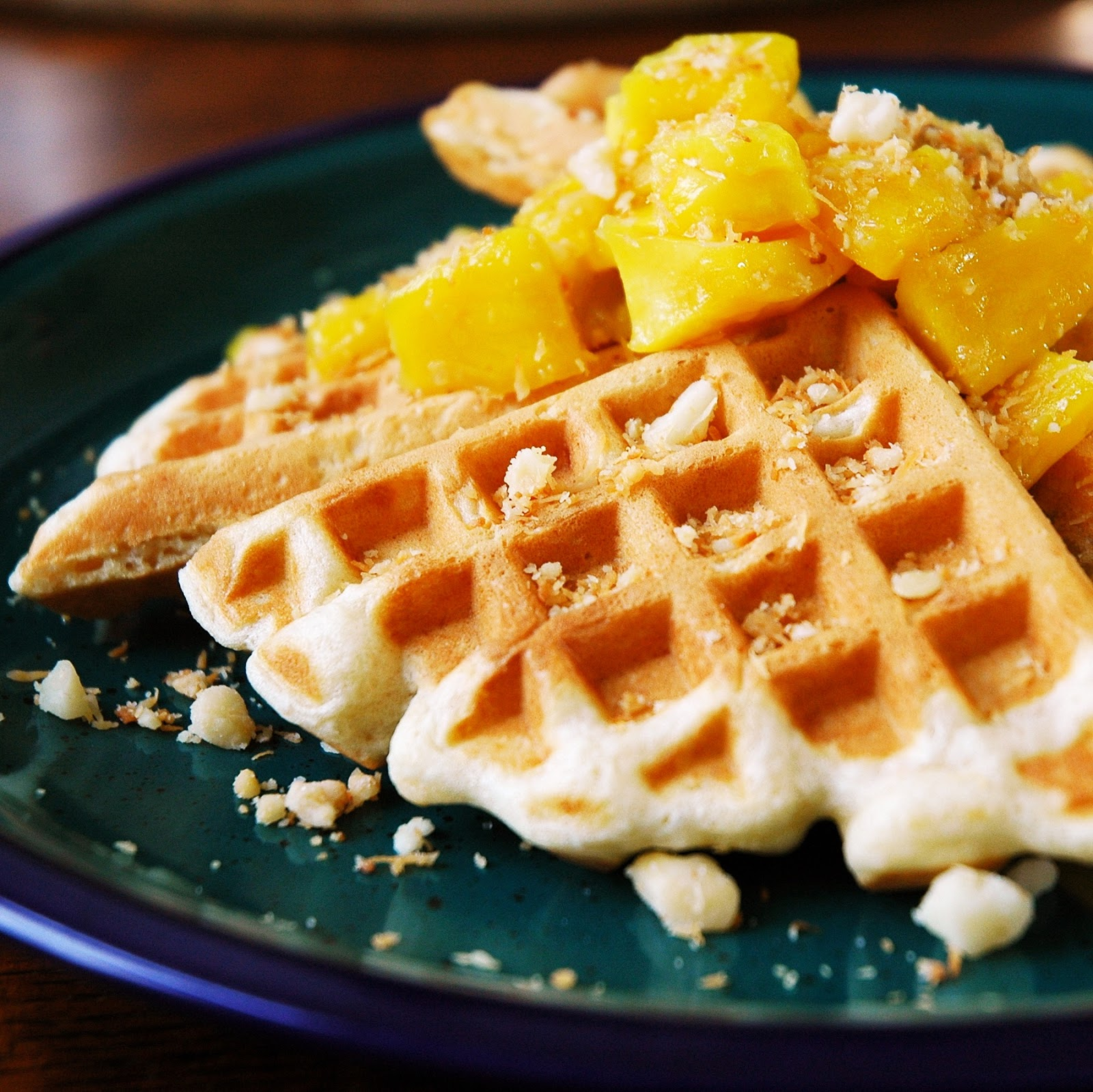 Coco-Mac Waffles with Banana-Jackfruit Rum Sauce - Simply ...