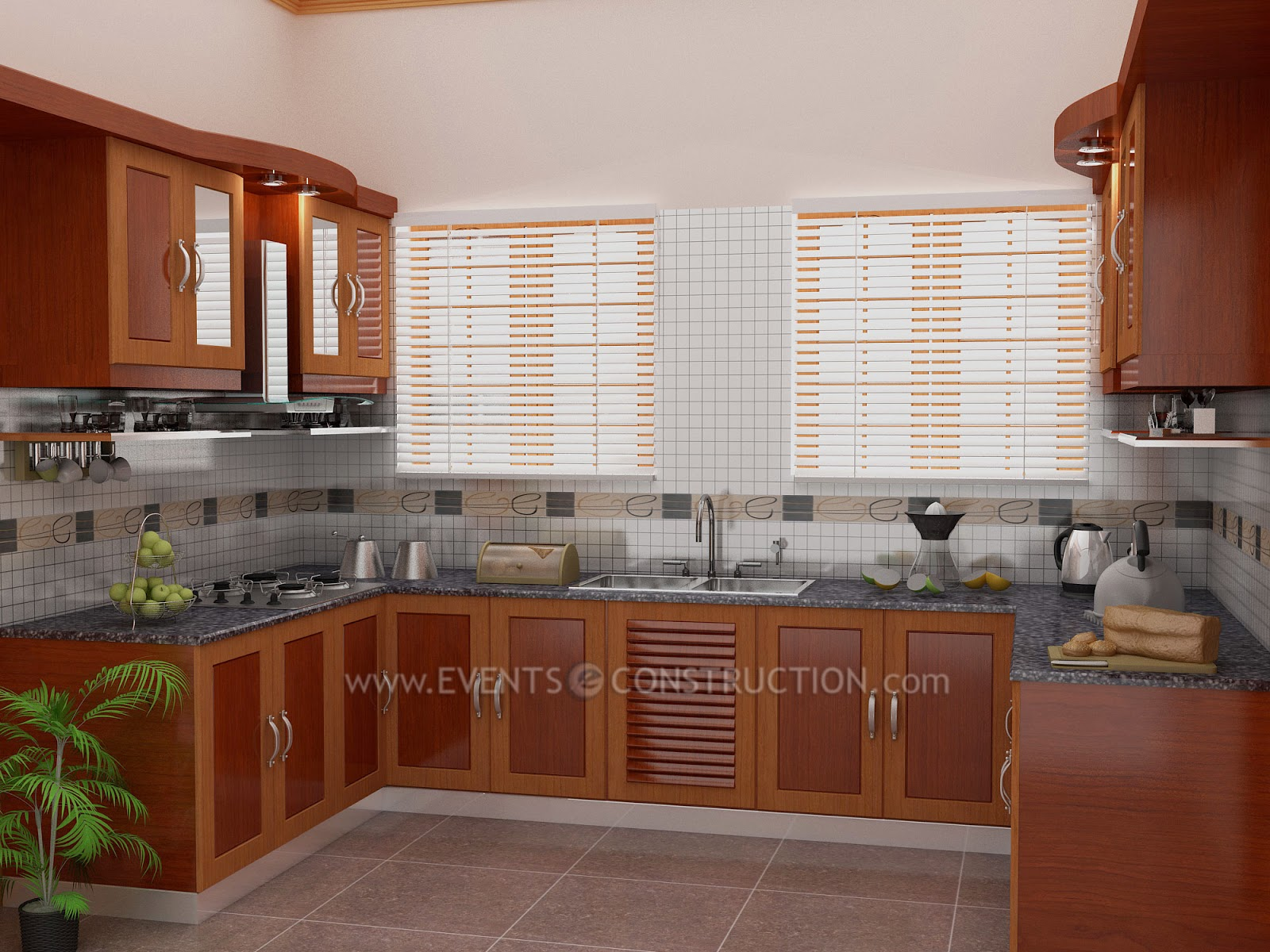 Kerala Style Kitchen Interior Designs Of Evens Construction Pvt Ltd Simple  Kerala Kitchen Design
