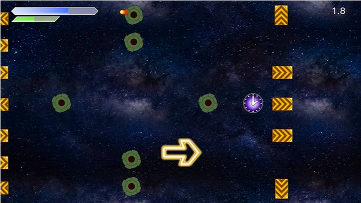 Screenshot of video game Arrow Time U. The titular arrow is flying through an obstacle course in space.