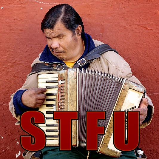 Guy Playing Accordion with S.T.F.U. stamp