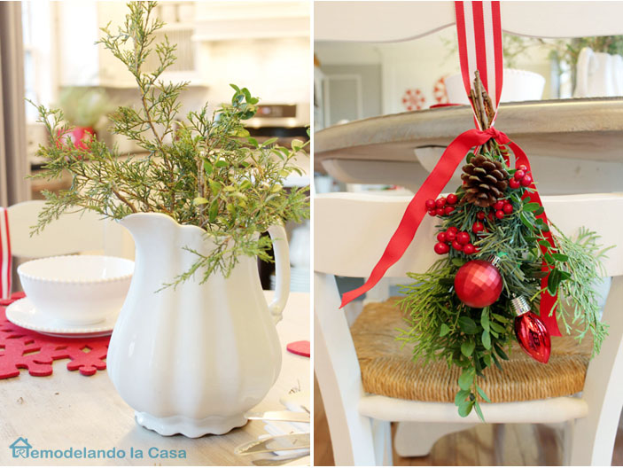 Green Christmas arrangement for back of chair and in white pitcher