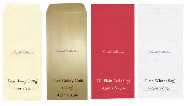 Envelope Choices, pearl ivory envelope, pearl galaxy gold envelope, DL Plain Red enveople, plain white envelope