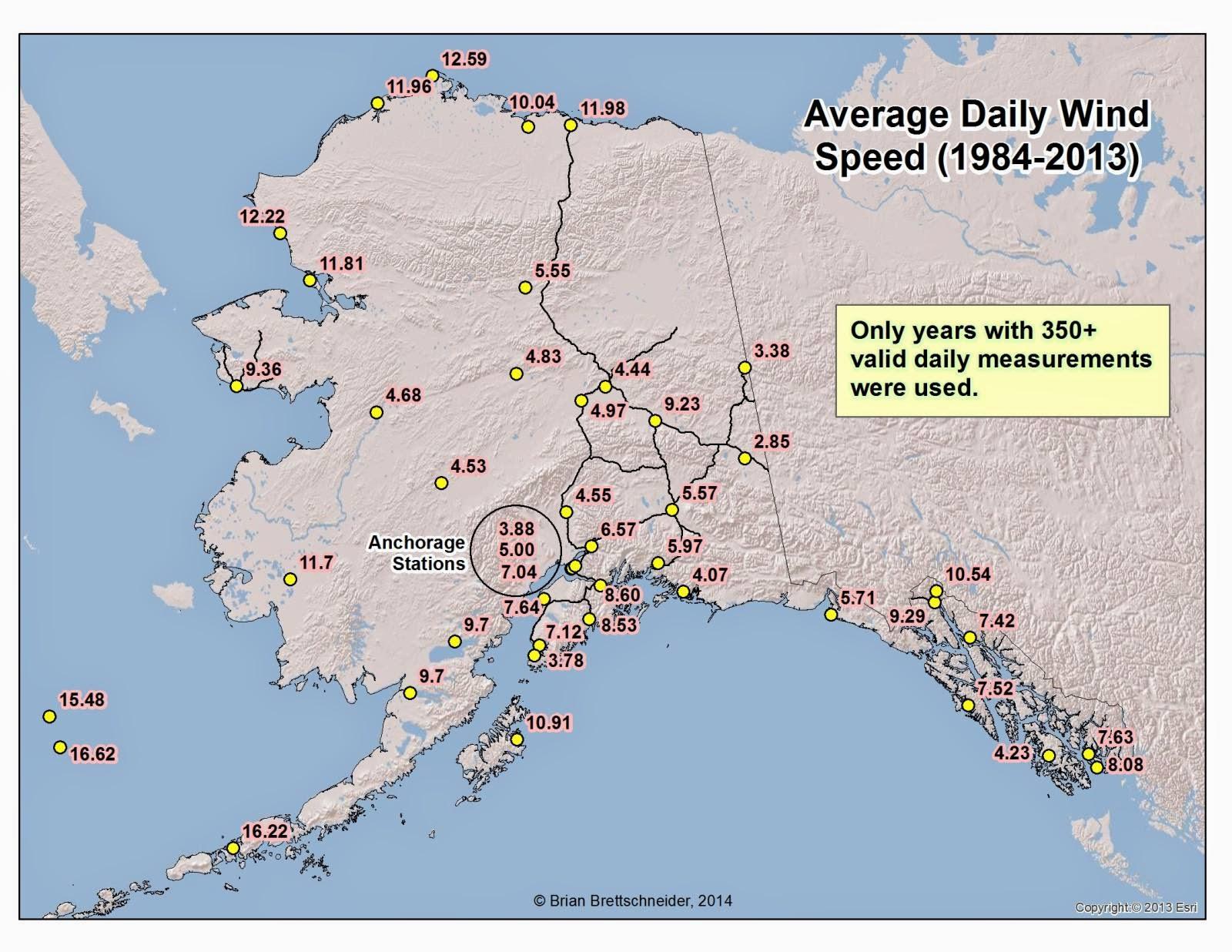 Deep Cold: Alaska Weather & Climate: Average Wind Speed