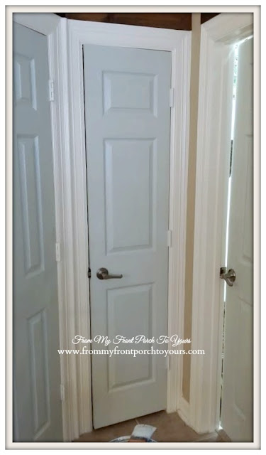 Step by Step door painting tutorial- Sherwin Williams #6204 Sea Salt- From My Front Porch To Yours