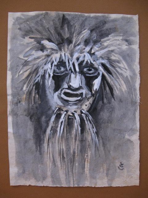 Ethel Cooke Dibujo a tinta y lpiz mscara de Pascola